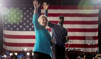 Democratic presidential candidate Hillary Clinton was joined at an Ohio rally by LeBron James of the Cleveland Cavaliers in the final days of her campaign. (Associated Press) ** FILE **