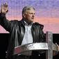 In this Sept. 27, 2014, photo, Christian evangelist Franklin Graham speaks in Erie, Pa. as part of a two-day music and evangelism festival. (Associated Press) **FILE**