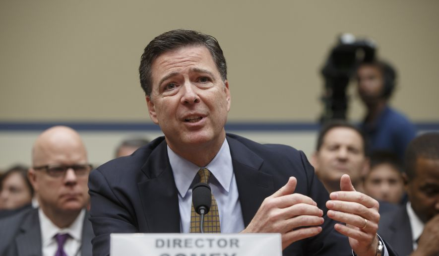 In this July 7, 2016, file photo, FBI Director James B. Comey testifies on Capitol Hill in Washington before the House Oversight Committee to explain his agency's recommendation to not prosecute Hillary Clinton. In a letter from Comey released on Nov. 6, he tells Congress review of additional Clinton emails does not change conclusion she should not face charges. (AP Photo/J. Scott Applewhite, File)
