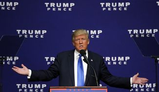 Republican presidential candidate Donald Trump speaks at a campaign rally in Sioux City, Iowa, Sunday, Nov. 6, 2016. (AP Photo/ Brennan Linsley)