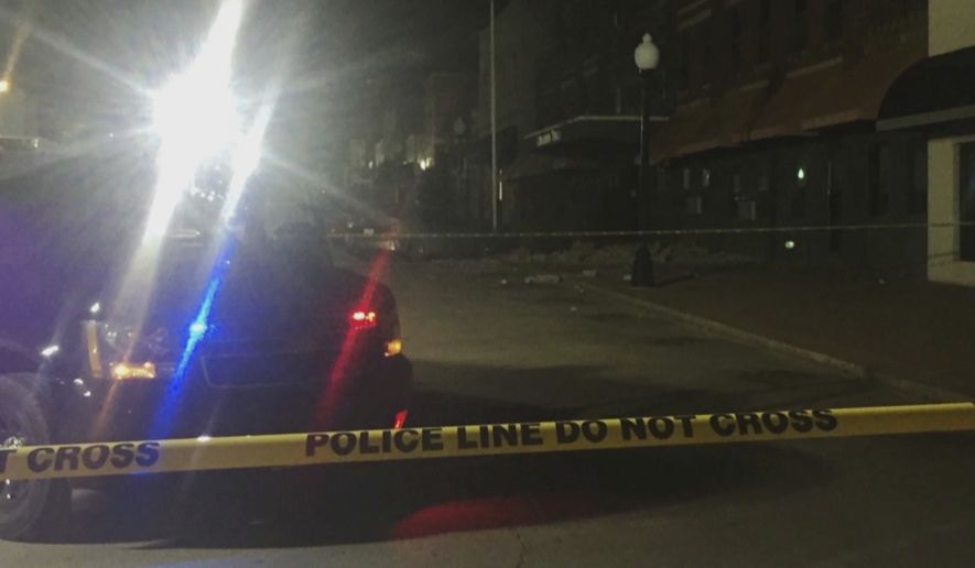 """This image made from video provided by KFOR-TV shows damage on a street in Cushing, Okla., after an earthquake Sunday, Nov. 6, 2016. A sharp earthquake centered near one of the world's key oil hubs Sunday night triggered fears that the magnitude 5.0 temblor might have damaged key infrastructure in addition to causing what police described as """"quite a bit of damage"""" in the Oklahoma prairie town. (KFOR-TV via AP)"""
