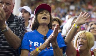 Donald Trump supporters cheer during a campaign rally Monday in Sarasota, Florida. (Associated Press)