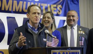 U.S. Sen. Pat Toomey speaks to supporters while making a campaign stop at the Holiday Inn Express in Avoca, Pa., Monday, Nov. 7. 2016. (Mark Moran/The Citizens' Voice via AP)