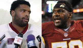 FILE - At left, in an Aug. 18, 2015, file photo, Washington Redskins tackle Trent Williams speaks to reporters after NFL football practice in Ashburn, Va. At right, in an Aug. 13, 2015, file photo, Washington Redskins tackle Ty Nsekhe stands on the sideline during an NFL preseason football game against the Cleveland Browns, in Cleveland. Pro Bowl left tackle Trent Williams is suspended for the next four Washington Redskins games because he violated the NFL's substance abuse policy. That's a major blow and a big test for Ty Nsekhe, who moves into the starting lineup beginning Sunday against the Minnesota Vikings. (AP Photo/File)