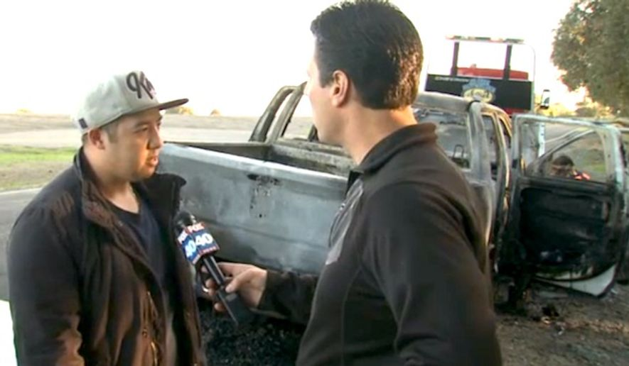 """Hao Lee was fishing with his 2-year-old son along the Sacramento River on Nov. 3, 2016, when someone allegedly yelled """"F---Trump!"""" and destroyed his truck. Mr. Lee immediately called 9-1-1 as the pro-Trump bumper sticker rage unfolded. (Fox 40 Sacramento screenshot)"""