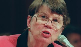 In this April 16, 1997 file photo, Attorney General Janet Reno testifies on Capitol Hill, before the Senate Judiciary Committee hearing on a proposed Constitutional amendment to protect victims's rights. Reno, the first woman to serve as U.S. attorney general and the epicenter of several political storms during the Clinton administration, has died early Monday, Nov. 7, 2016. She was 78. (AP Photo/Joe Marquette, File)