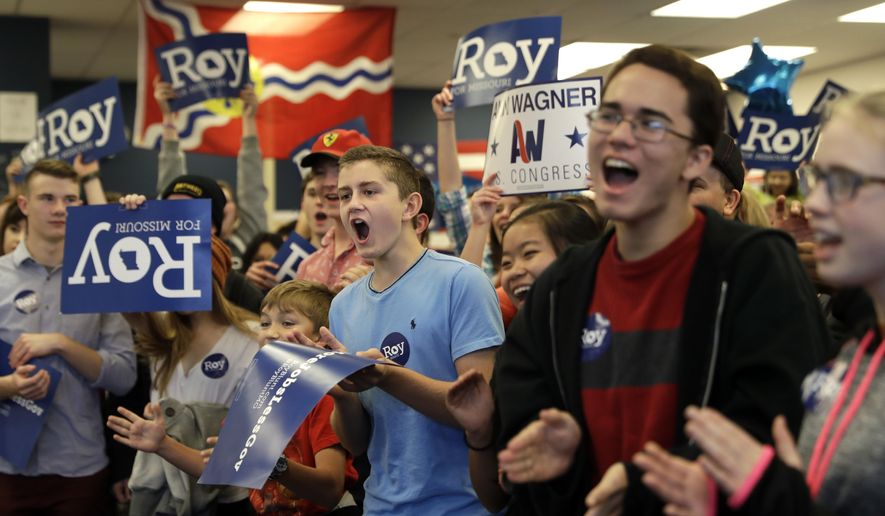 Supporters cheer as Republican incumbent Sen. Roy Blunt speaks at his campaign office Monday, Nov. 7, 2016, in Valley Park, Mo. Blunt is seeking a second term in a tight race with Democratic challenger Jason Kander. (AP Photo/Jeff Roberson)