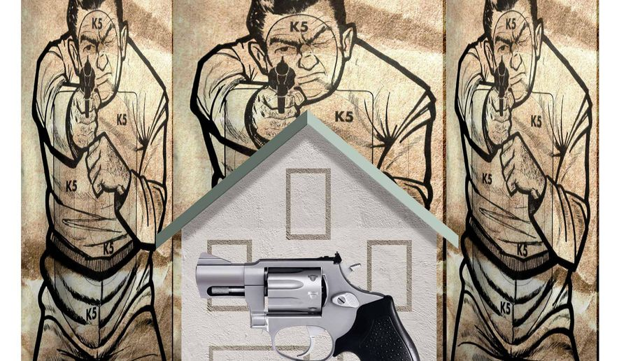 Illustration on guns and self-defense by Alexander Hunter/The Washington Times