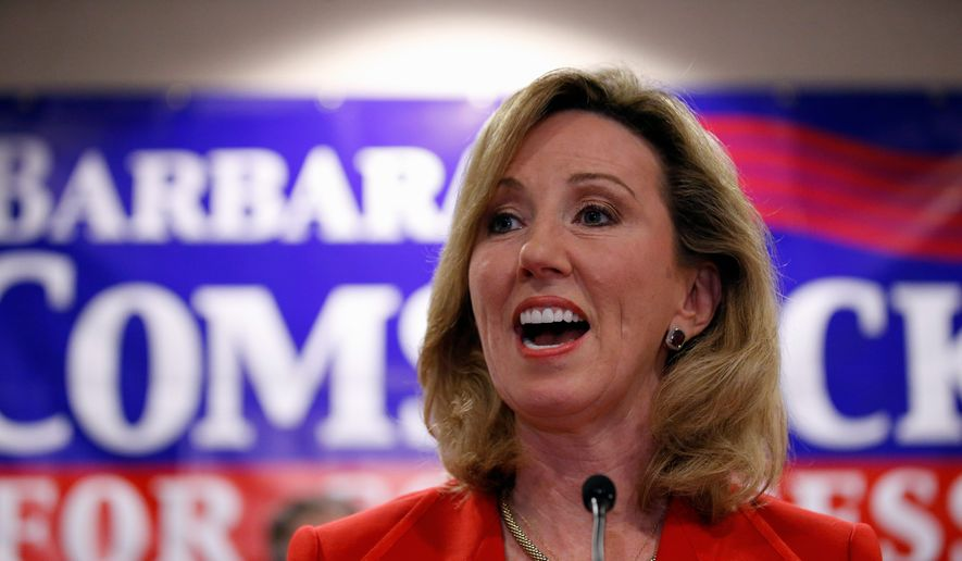Then-Virginia Republican congressional candidate, now-Rep. Barbara Comstock, R-Va., speaks in Ashburn, Va.  (AP Photo/Alex Brandon, File)