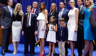Donald Trump and his family, shortly after he announced his intention to run for president on June 16, 2015. (Associated Press)