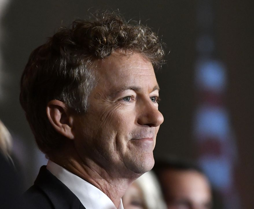 Sen. Rand Paul, R-Ky. smiles at the crowd during his victory celebration, Tuesday, Nov. 8, 2016, in Louisville Ky. (AP Photo/Timothy D. Easley) ** FILE **