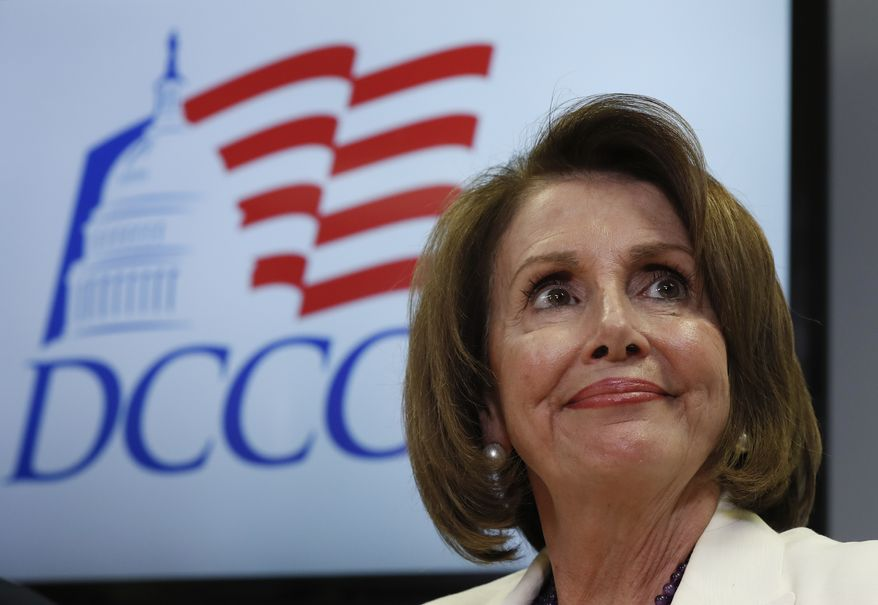 House Minority Leader Nancy Pelosi of California pauses during an Election Day news conference at the Democratic Congressional Campaign Committee Headquarters in Washington, Tuesday, Nov. 8, 2016. (AP Photo/Carolyn Kaster)