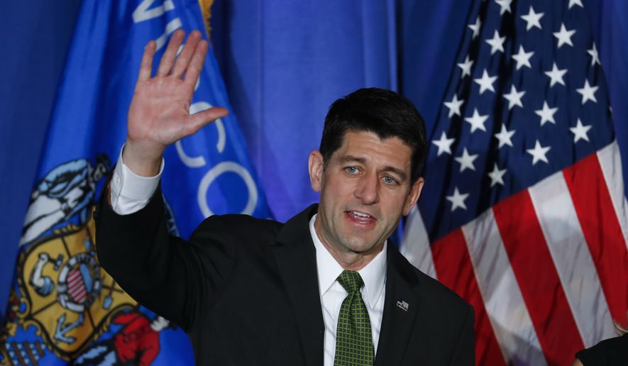 House Speaker Paul Ryan of Wis. waves to supporters at a campaign rally in Janesville, Wis., Tuesday, Nov. 8, 2016. (AP Photo/Paul Sancya)