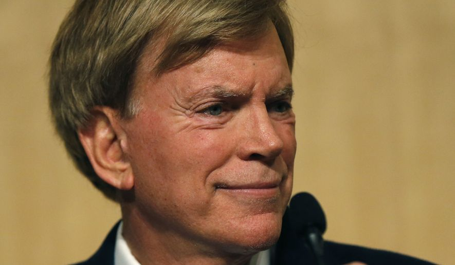 In this Nov. 2, 2016, file photo, Republican Louisiana Senate candidate, former Ku Klux Klan leader David Duke, waits for the start of a debate for Louisiana candidates for the U.S. Senate, at Dillard University in New Orleans. (AP Photo/Gerald Herbert, File)