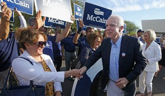 Sen. John McCain, R-Ariz., second from right, and his wife Cindy McCain, right, greets supporters after dropping off their ballots at a polling station, Tuesday, Nov. 8, 2016, in Phoenix. The incumbent McCain is running against Rep. Ann Kirkpatrick, D-Ariz. (AP Photo/Ross D. Franklin)