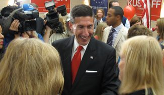 Former U.S. attorney David Kustoff speaks with supporters at his victory party after he won the race in Tennessee's 8th Congressional District on Tuesday, Nov. 8, 2016 in Memphis, Tenn. (AP Photo/Adrian Sainz) ** FILE **