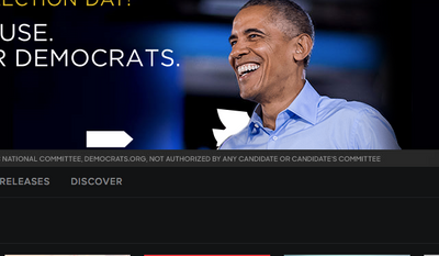 Democratic Congressional Campaign Committee advertisement running on Nov. 8, 2016 at the top of Spotify's Web-browser based streaming-music player.