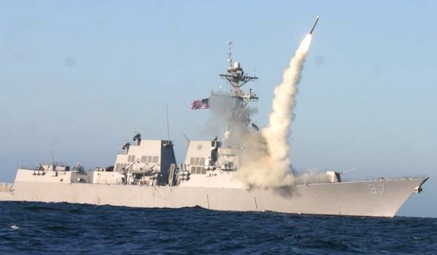 A Tactical Tomahawk launches from the Navy destroyer USS-Halsey. (U.S. Navy)