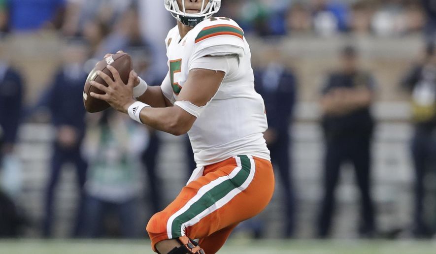 FILE - This Oct. 29, 2016 file photo shows Miami quarterback Brad Kaaya looking to throw during the second half of an NCAA college football game against Notre Dame in South Bend, Ind. Kaaya, coming off one of his best games _ a four-TD-passing, one-TD-rushing, 356-yard gem against Pitt _ hasn't given up and thinks the Hurricanes might be able to regain some lost steam. (AP Photo/Darron Cummings, file)