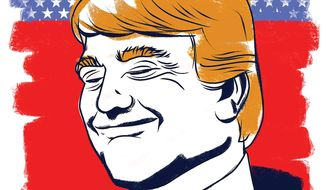 "Illustration on Trump the ""happy"" warrior by Linas Garsys/The Washington Times"