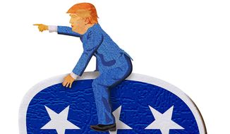 Trump Leading the Charge illustration by Greg Groesch/The Washington Times