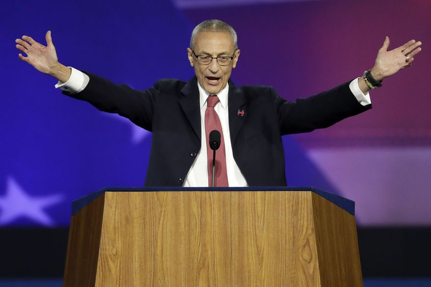 John Podesta, campaign chairman, announces that Democratic presidential nominee Hillary Clinton will not be making an appearance at Jacob Javits Center in New York, Wednesday, Nov. 9, 2016 as the votes are still being counted. (AP Photo/Patrick Semansky) **FILE**