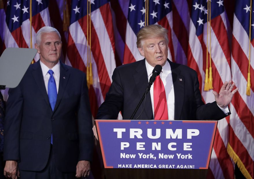 President-elect Donald Trump gives his acceptance speech during his election night rally,  Wednesday, Nov. 9, 2016, in New York. (AP Photo/John Locher) ** FILE **