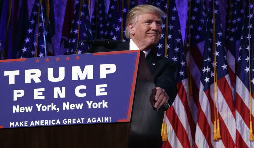 President-elect Donald Trump speaks during an election rally, Wednesday, Nov. 9, 2016, in New York. (AP Photo/ Evan Vucci)