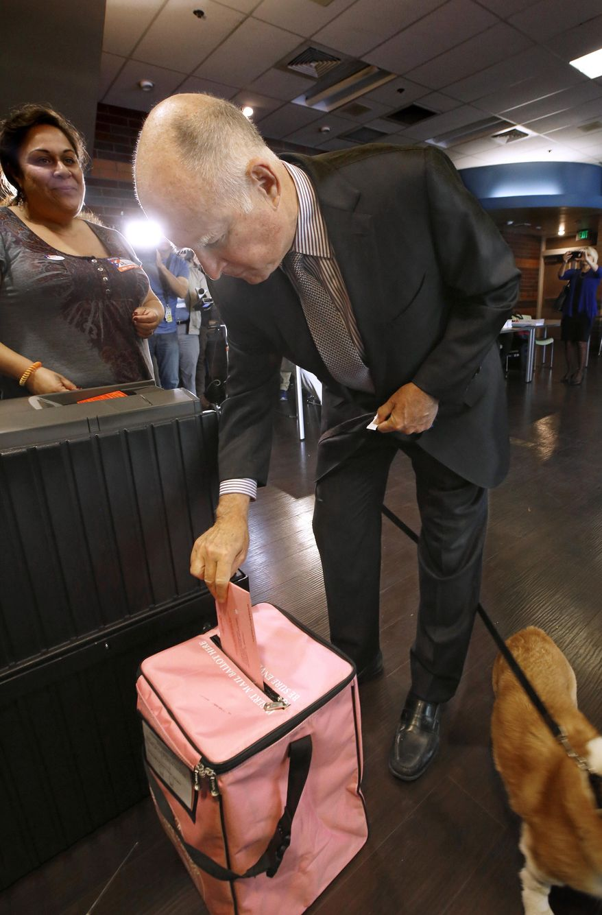 Calif., Gov. Jerry Brown deposits his mail-in ballot at his voting percent in Sacramento, Calif., Tuesday, Nov. 8, 2016. In the final weeks Brown made a last-minute push for Proposition 57 that would make more prisoners eligible for parole and against Proposition 53 which would require voter approval before the sale of revenue bonds of $2 billion or more. (AP Photo/Rich Pedroncelli)