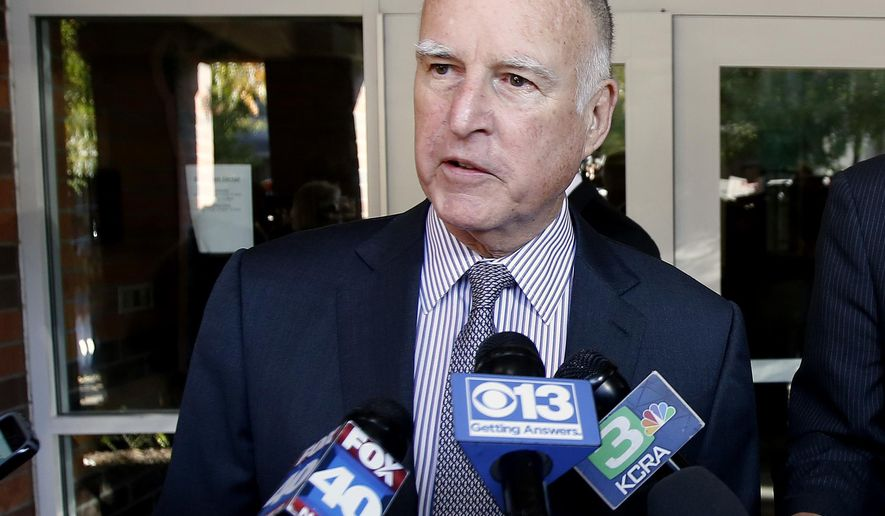 Calif., Gov. Jerry Brown talks to reporters after casting his mail in ballot on Election Day in Sacramento, Calif., Tuesday, Nov. 8, 2016. In the final weeks Brown made a last-minute push for Proposition 57 that would make more prisoners eligible for parole and against Proposition 53 which would require voter approval before the sale of revenue bonds of $2 billion or more. (AP Photo/Rich Pedroncelli)