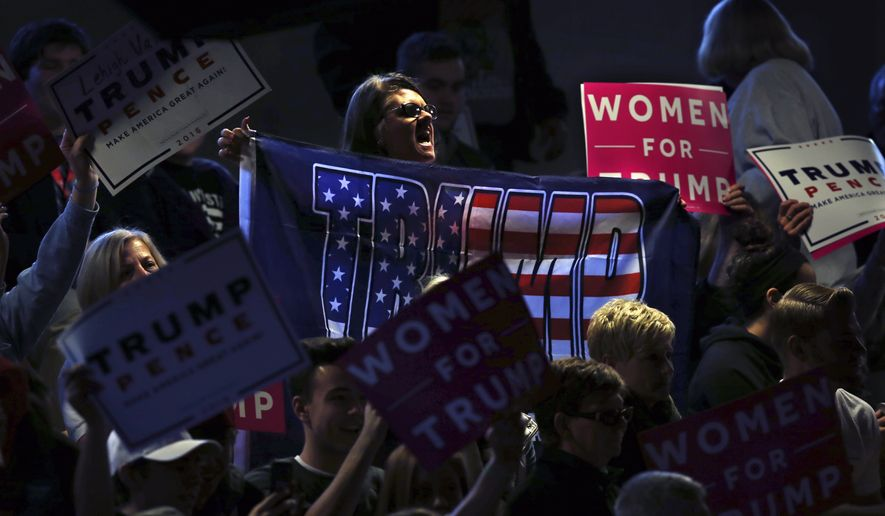Women shout and hold up Donald Trump banners and signs during a campaign rally for Republican presidential candidate Donald Trump Monday, Nov. 7, 2016, in Scranton, Pa. (AP Photo/Mel Evans)
