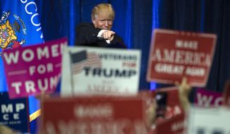 Republican presidential candidate Donald Trump gestures during a campaign state at the University of Wisconsin-Eau Claire in Eau Claire, Wis. (AP Photo/Matt Rourke, File)