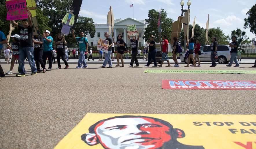 """In this July 24, 2013, file photo, demonstrators rally in front of the White House in Washington, in favor of immigration reform. """"Your Majesty"""" isn't in the American political lexicon. (AP Photo/Evan Vucci, File)"""