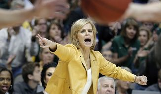 FILE - In this March 28, 2016, file photo, Baylor head coach Kim Mulkey  shouts instructions to her players as Oregon State puts the ball into play during the second half of a regional final of the women's NCAA Tournament, in Dallas.  The Lady Bears had their last three seasons end with losses in the Elite Eight. Their goal this season is to get to their first NCAA Final Four in five seasons. (AP Photo/Brandon Wade, File)