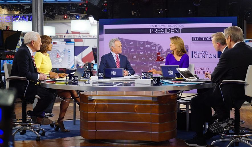 In this image released by CBS, CBS News Contributor Bob Schieffer, from left, CBS This Morning co-host Gayle King, CBS Evening News anchor Scott Pelley, CBS This Morning co-host Norah O\'Donnell, Face the Nation anchor John Dickerson and CBS This Morning co-host Charlie Rose host 2016 election night coverage on Nov. 8, 2016, at the CBS Broadcast Center in New York. (Michele Crowe/CBS via AP)