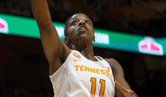 Tennessee guard Diamond DeShields (11) attempts a shot during the first half of an NCAA basketball exhibition game against Carson-Newman in Knoxville, Tenn., Monday, Nov. 7, 2016. (Brianna Paciorka/Knoxville News Sentinel via AP)