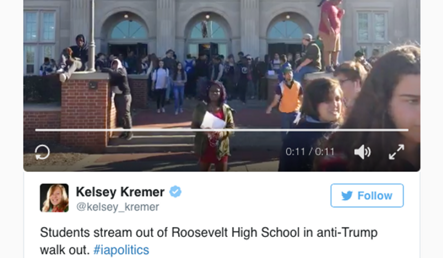 Screen capture from Des Moines Register embed of a student's tweet about the anti-Trump walkout held on Nov. 9, 2016 in Des Moines, Iowa public high schools. [http://www.desmoinesregister.com/story/news/education/2016/11/09/des-moines-students-walkout-donald-trump-election-president/93539892/]