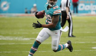 FILE - In this Oct. 23, 2016, file photo, Miami Dolphins defensive back Chris Culliver (29) runs the ball, during the second half of an NFL football game against the Buffalo Bills, in Miami Gardens, Fla. Culliver, who suffered a serious knee injury a year ago, is back on the active roster and hoping to play Sunday at San Diego. (AP Photo/Wilfredo Lee, File)