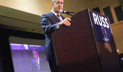 Democratic U.S. Senate candidate Russ Feingold delivers his concession speech in Middleton, Wis., Tuesday, Nov. 8, 2016. Feingold lost to Republican Ron Johnson. (John Hart/Wisconsin State Journal via AP)