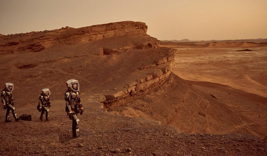 "This image released by National Geographic shows a scene from the series, ""Mars,"" premiering Monday at 9 p.m. ET on the National Geographic channel. The series brought together scientific consultants, director Everardo Gout, producer Justin Wilkes as showrunner, and executive producers Ron Howard and Brian Grazer. (Robert Viglasky/National Geographic Channels via AP)"