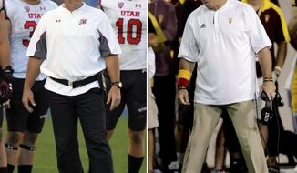 FILE - At left, in an Oct. 22, 2016, file photo, Utah head coach Kyle Whittingham watches from the sideline during the second half of an NCAA college football game against UCLA, in Pasadena, Calif. At right, also in an Oct. 22, 2016, file photo, Arizona State coach Todd Graham talks to his players during the second half of an NCAA college football game against Washington State, in Tempe, Ariz. Utah and Arizona State play on Thursday. (AP Photo/FIle)