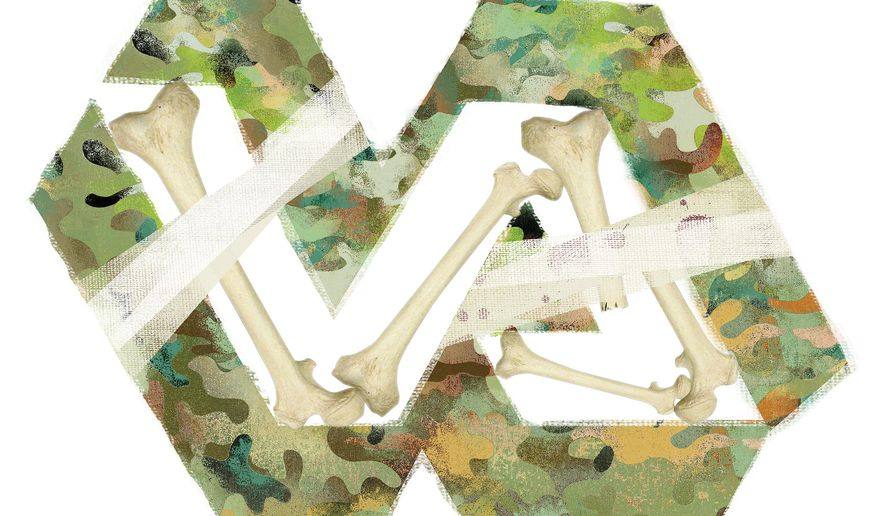 Illustration on the deadly deficiencies of the Veteran's Administration by Linas Garsys/The Washington Times