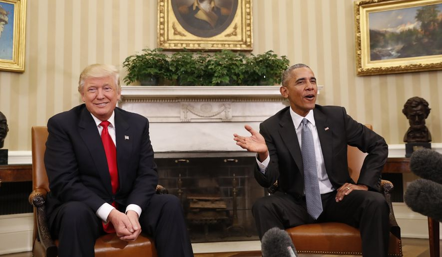 Trump obama praise each other after meeting washington times president barack obama meets with president elect donald trump in the oval office of the m4hsunfo
