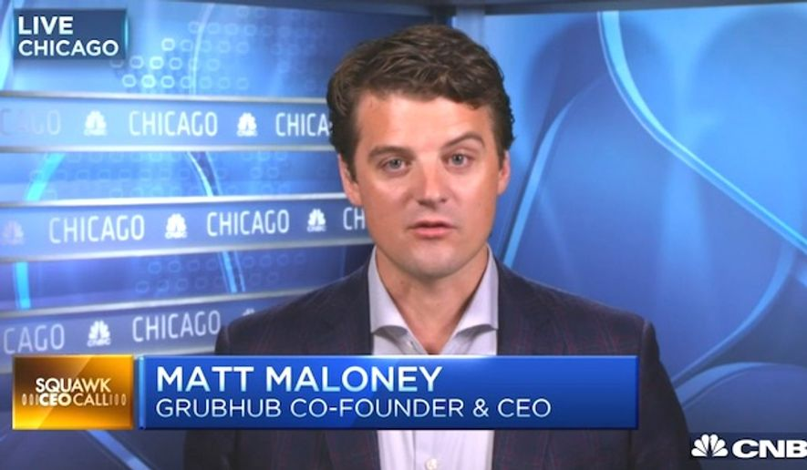 """Matt Maloney, Grubhub co-founder and CEO, sent an anti-Trump email to employees after the Nov. 8, 2016, presidential election and said those who disagree with him have """"no place"""" at the company. (CNBC screenshot)"""