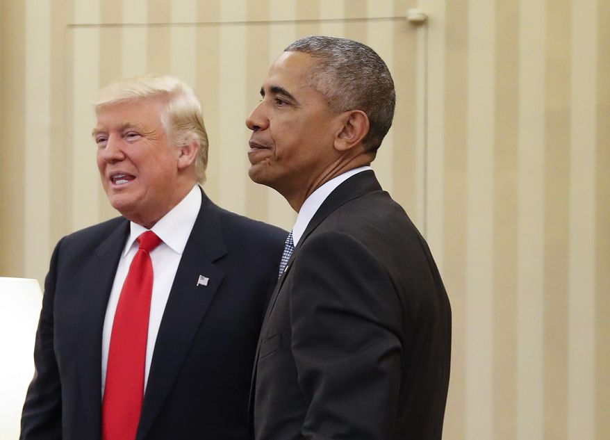 President Barack Obama meets with President-elect Donald Trump in the Oval Office of the White House in Washington, Thursday, Nov. 10, 2016. (AP Photo/Pablo Martinez Monsivais) **FILE**