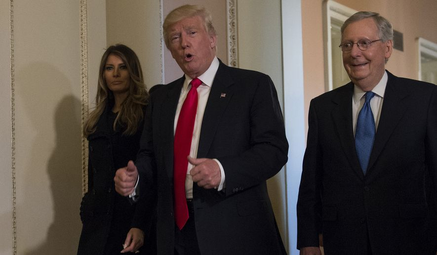 President-elect Donald Trump, accompanied by his wife Melania and Senate Majority Leader Mitch McConnell, gestures Thursday while walking on Capitol Hill. (Associated Press)