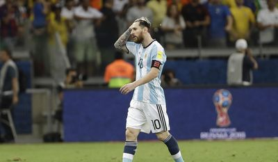 Argentina's Lionel Messi leaves the field after his team lost 0-3 against Brazil during a 2018 World Cup qualifying soccer match at the Mineirao stadium in Belo Horizonte, Brazil, Thursday Nov. 10, 2016.(AP Photo/Andre Penner)