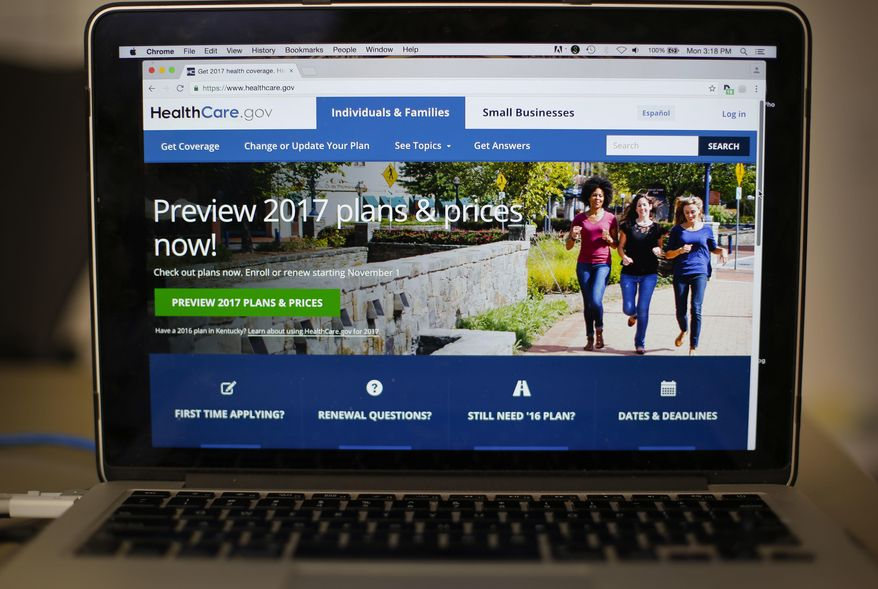 In this Oct. 24, 2016, file photo, the HealthCare.gov 2017 web site home page is seen on a laptop in Washington. (AP Photo/Pablo Martinez Monsivais, File) **FILE**