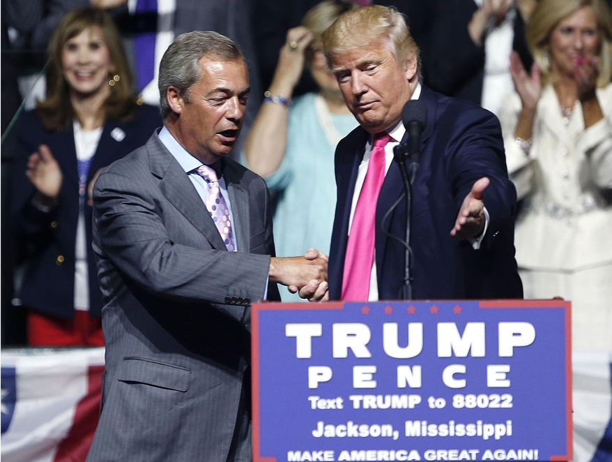 FILE - This is a Wednesday, Aug. 24, 2016  file photo of Republican presidential candidate Donald Trump, right, welcomes pro-Brexit British politician Nigel Farage, to speak at a campaign rally in Jackson, Miss. Britain's vote to leave the European Union was a major shock to the global political system. But in a year of political earthquakes, it has just been trumped. Like Brexit, Donald Trump's victory over Hillary Clinton in the U.S. presidential election was driven by voters turning against established order and mainstream politicians. (AP Photo/Gerald Herbert, File)