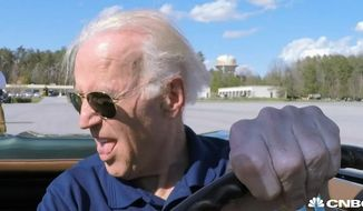 "Vice President Joe Biden took part in a drag race with former secretary of state Colin Powell during the season premiere of ""Jay Leno's Garage."" Mr. Biden drove a 1967 Corvette. (CNBC screenshot)"